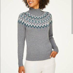 LOFT Fairisle Mock Neck Sweater Grey